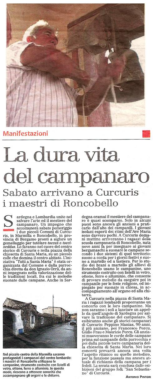 Articolo uscito su L'Unione Sarda in data 16 luglio 2009