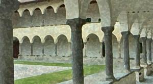 Uno scorcio del chiostro del Santuario del Lavello