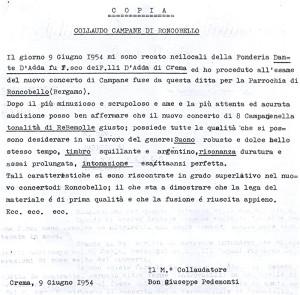 Un esempio di relazione di collaudo del 1954 a cura di Monsignor Pedemonti